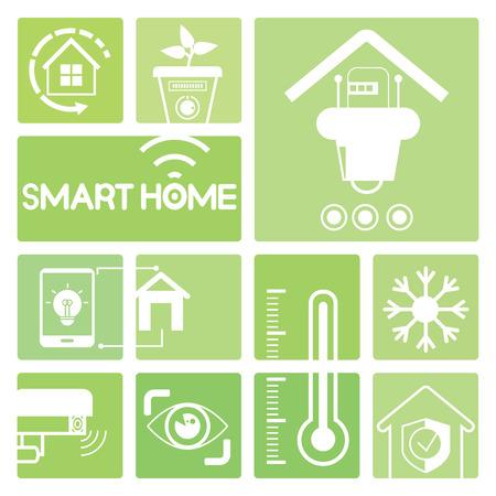 eco home: smart home icons, eco home