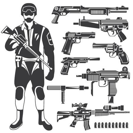 commando: commando, gun, weapon icons, vector set