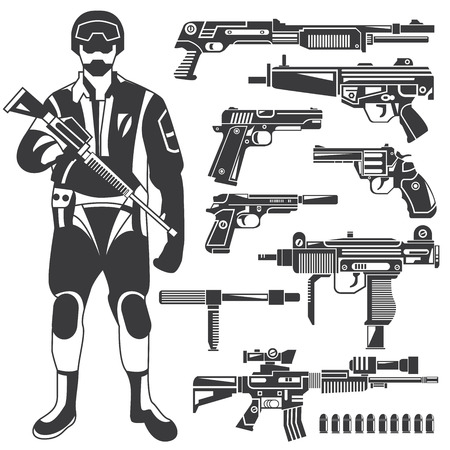combatant: commando, gun, weapon icons, vector set