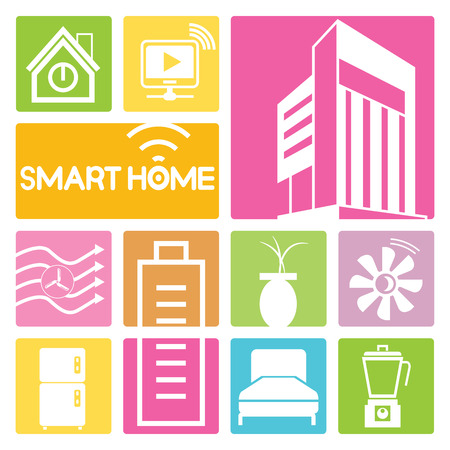 turbina: iconos de casas inteligentes, diseño colorido