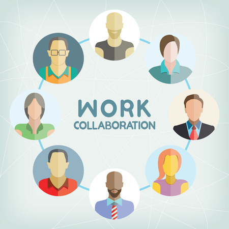 business teamwork: work collaboration Illustration
