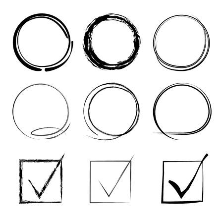 vector set of grunge circle brush, check mark 일러스트