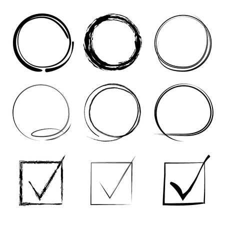 vector set of grunge circle brush, check mark 矢量图像
