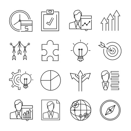 human resource affairs: business icons, line icons