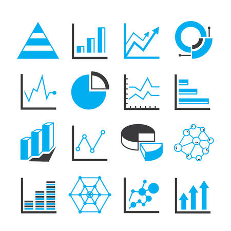 trend: graph and chart icons, data analytics icons