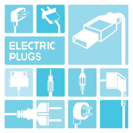 cords: electric plug icons Illustration