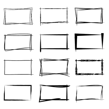 hand with pencil: grunge rectangle frames