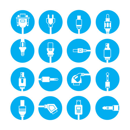 blue buttons: plug icons, blue buttons Illustration