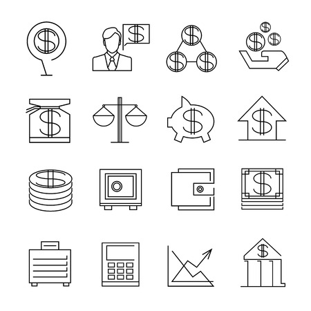 finance icons: banking icons, finance icons Illustration