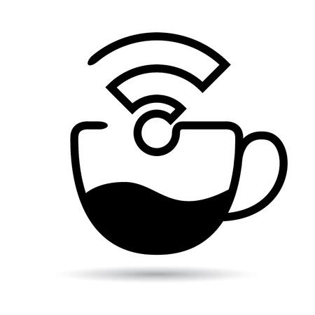 wifi internet: caf� y servicio de internet inal�mbrico icono Vectores