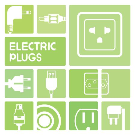 outlet: electric plug in green buttons