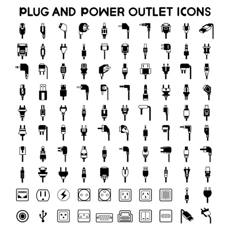 electric power: electric plug icons, outlet icons set