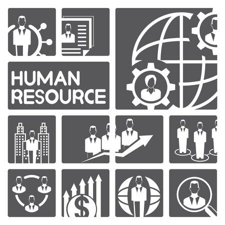 emprendimiento: iconos de gesti�n de recursos humanos Vectores