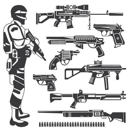 soldaat en wapens, politieagent, pistool pictogrammen