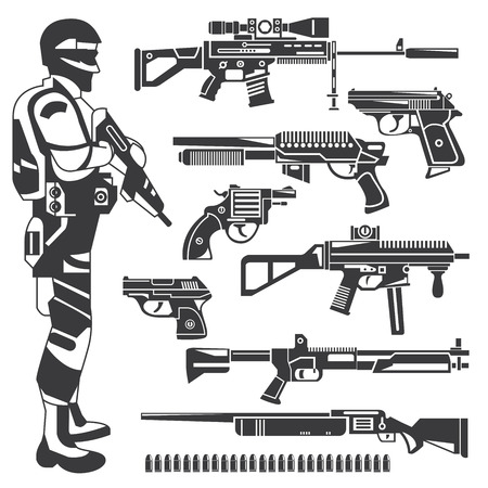 military invasion: soldier and weapons, policeman, gun icons Illustration