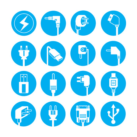blue buttons: electric plug icons, blue buttons Illustration