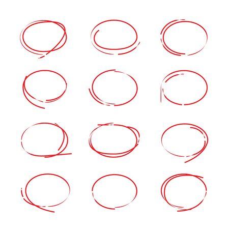 акцент: Красные круги маркерные Иллюстрация