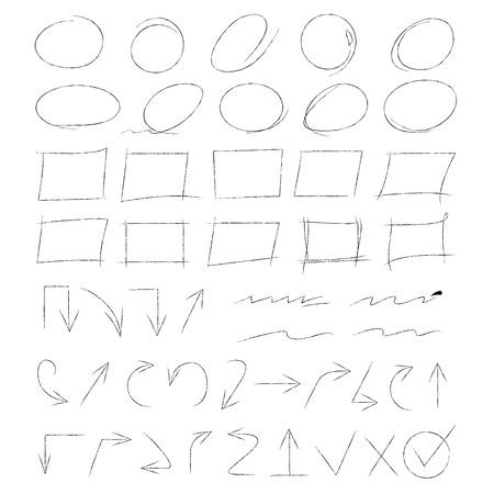 highlight: highlight marker, hand drawn circle, arrows Illustration
