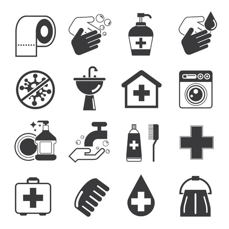bacteria in heart: hygiene icons Illustration