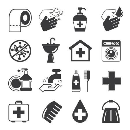 bacterias: iconos de higiene Vectores