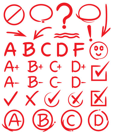 grades, check marks, hand drawn elements Stock Illustratie