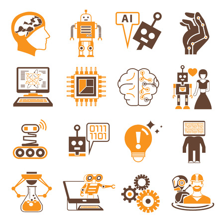 artificial: robot and artificial intelligence icons