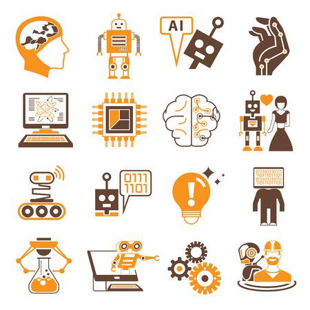 inteligencia: robot y los iconos de inteligencia artificial