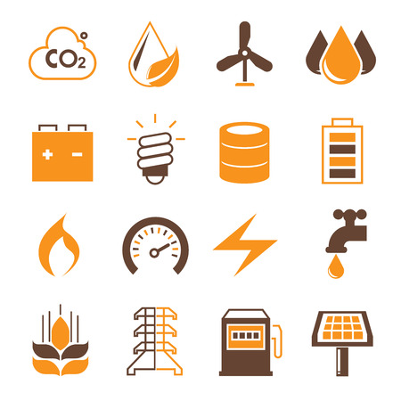 disaster supplies: power and energy icons