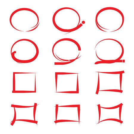 highlighter: hand drawn highlighter elements Illustration