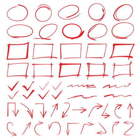 チェック マーク、矢印、マーカー要素を強調表示します。