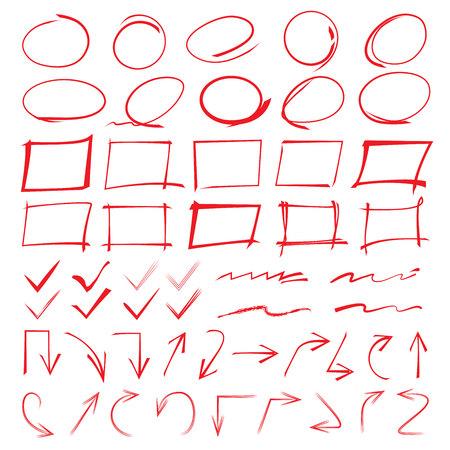 markeren elementen, markers, pijlen, vinkjes Stock Illustratie