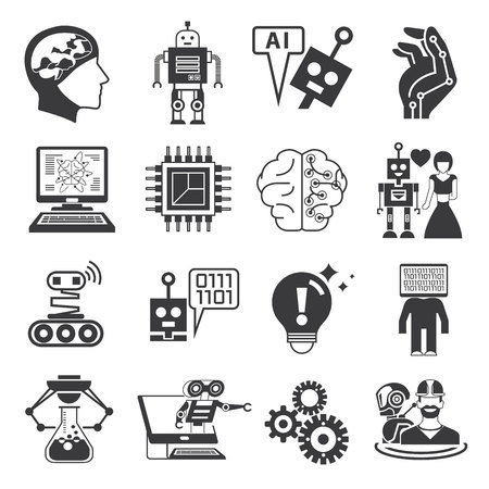 robots: robot icons, artificial intelligence icons