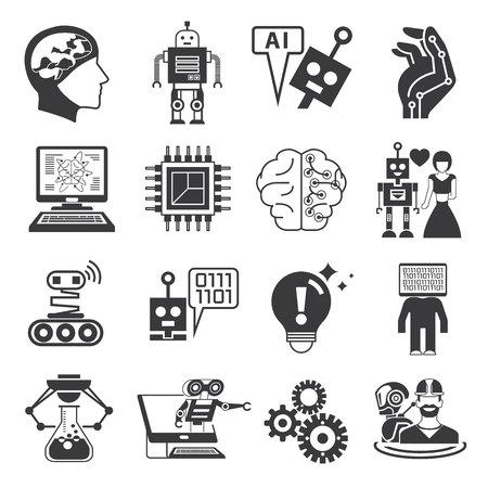 robot pictogrammen, kunstmatige intelligentie iconen