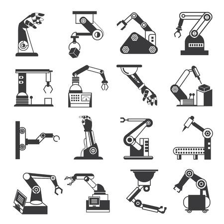 iconos brazo robótico, robots de montaje de la industria Vectores