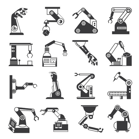 production line: robotic arm icons, industry assembly robots Illustration