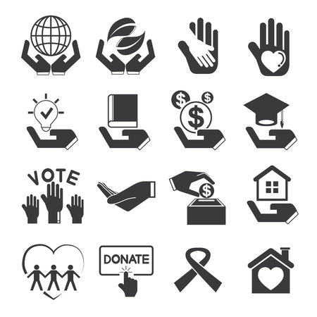 social awareness symbol: donation icons, charity icons Illustration