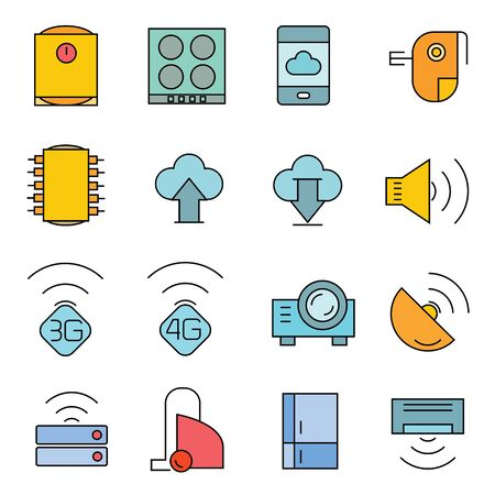 sattelite: network icons, electronic device icons