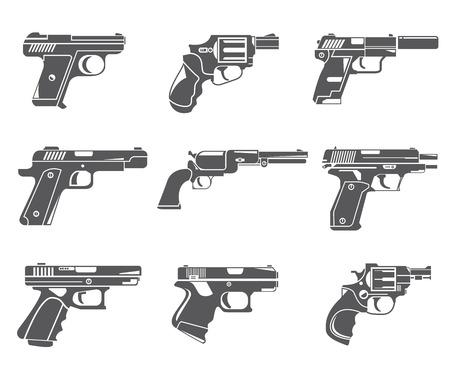 pistol icons, gun icons  イラスト・ベクター素材
