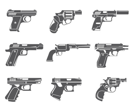 machine gun: pistol icons, gun icons Illustration
