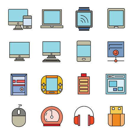 computer icons: computer and electronic device icons