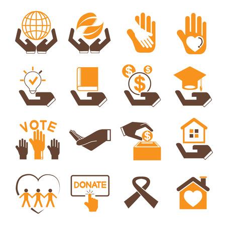 sheltering: donation icons, charity icons Illustration