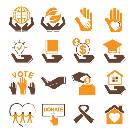 donation icons, charity icons Vettoriali