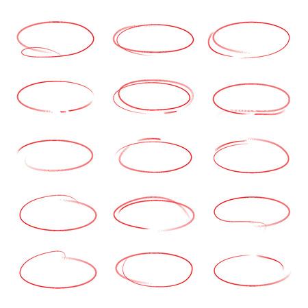 marker: círculos rojos, marcadores rojos