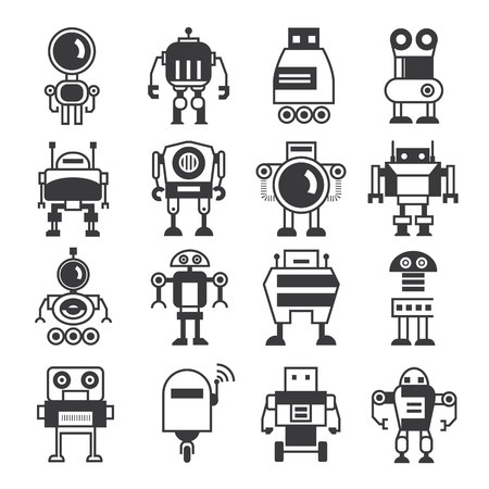 robot cartoon: robot icons