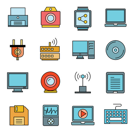 computer keyboard: electronic device icons, gadget icons Illustration