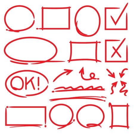 symbol hand: Pfeile und Hervorhebung Elemente H�kchen