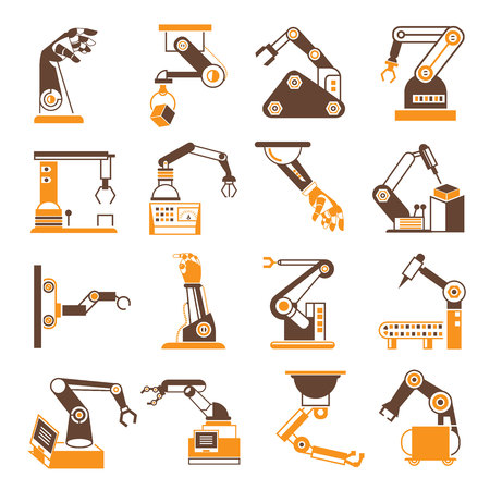 industry icons: robotic arm icons, industry assembly mechanic icons Illustration