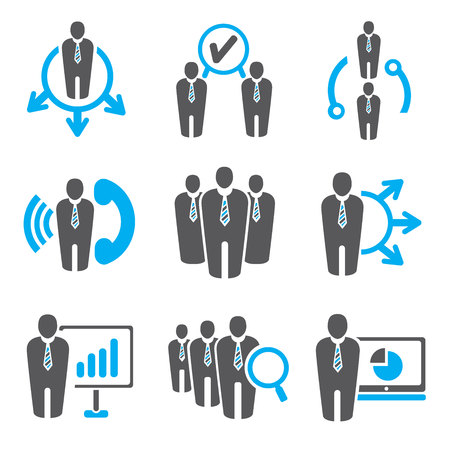 gerente: la gente de negocios y los iconos de gestión Vectores