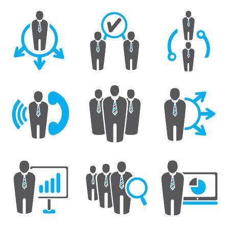zakenmensen en beheer van iconen Stock Illustratie