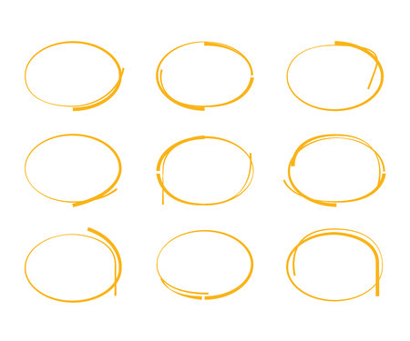 dub: yellow hand drawn circle and bubbles Illustration